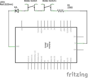 Esquema elétrico em série com Arduino