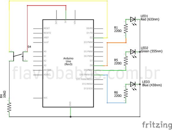 Esquema elétrico do Projeto de LED's com Arduino