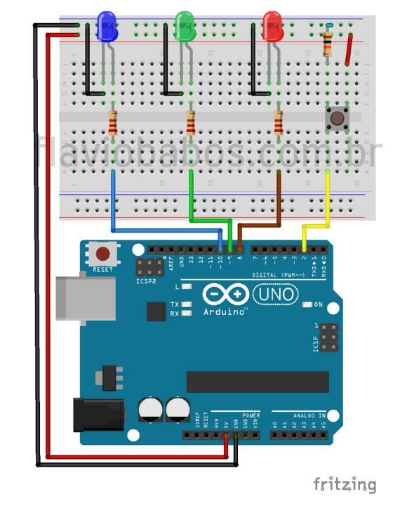 Montagem do projeto de LED's sobre o que é Arduino