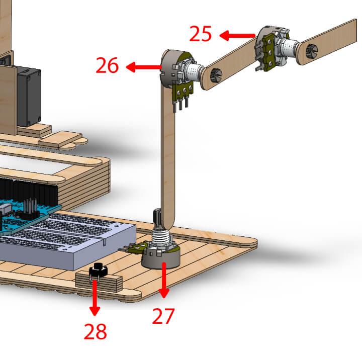 Braço de comandos com potenciômetros e Arduino