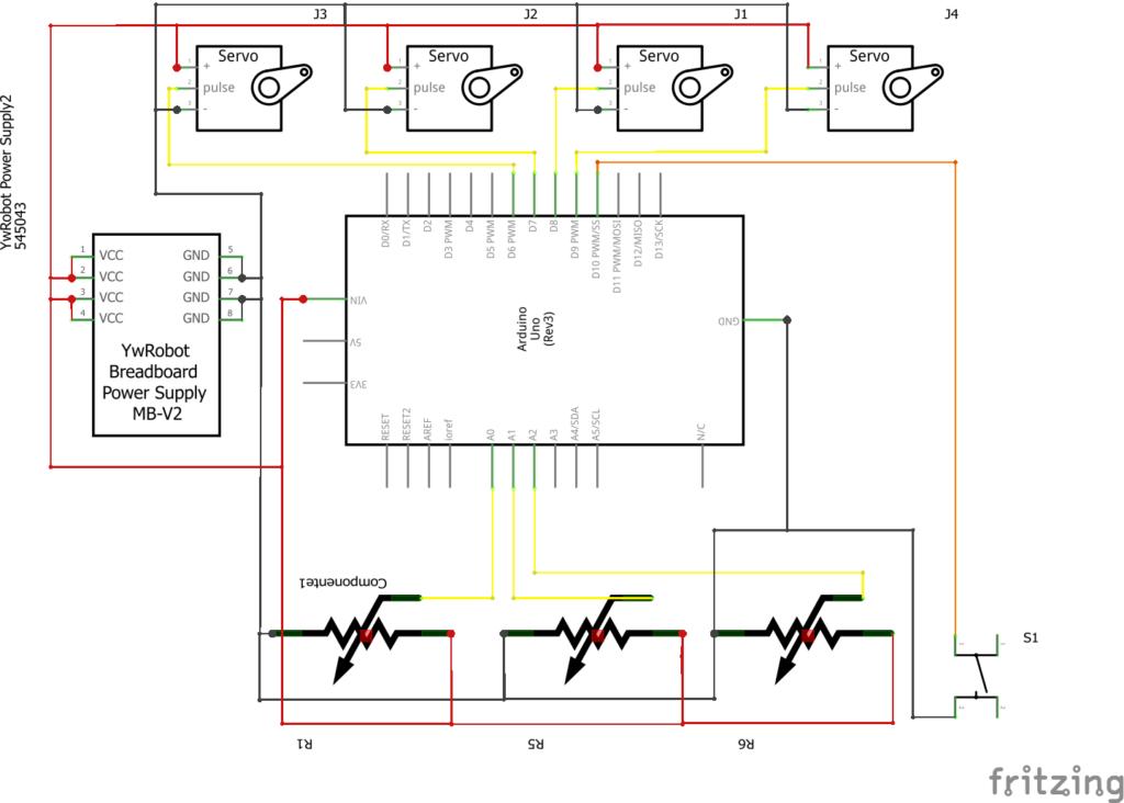 Braço Robótico Arduino e montagem do esquema elétrico