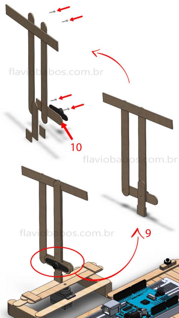 Estrutura de locomoção do cotovelo do Braço Robótico Arduino