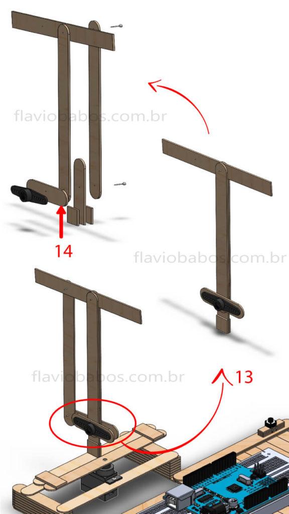 Estrutura de locomoção do ombro do Braço Robótico Arduino