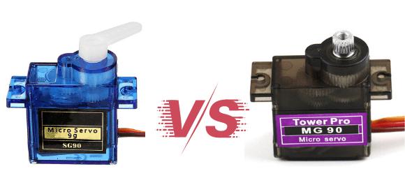 Diferenças entre o Servo Motor SG90 e MG90 do braço robótico