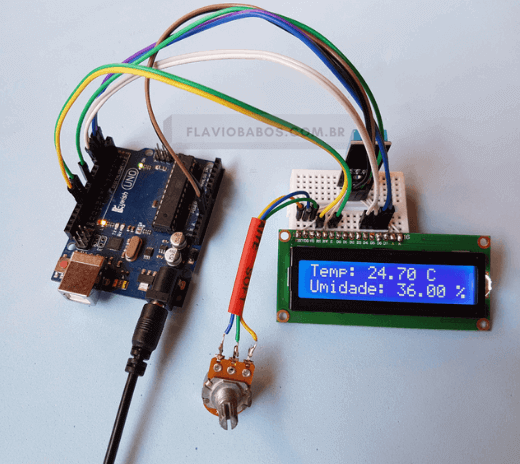 Sensor de temperatura DHT11 e LCD com Arduino