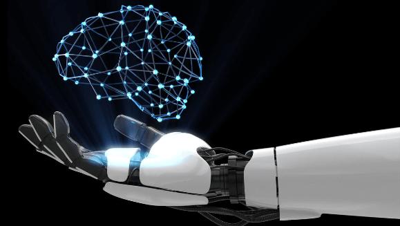 Mao robotica com holograma de um cerebro