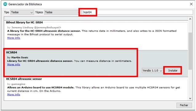 Biblioteca HCSR04 do sensor ultrassonico sendo adicionada na IDE do arduino