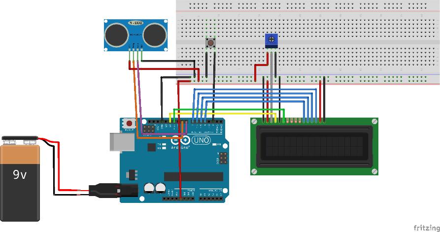 Montagem feita no fritzing do sensor ultrassonico, display lcd e Arduino