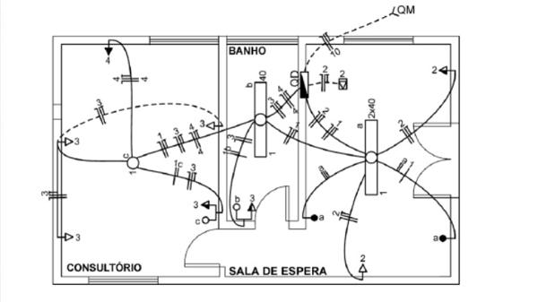 Diagrama unifilar de uma casa que representa as instalações elétricas da mesma