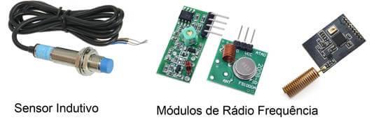 3 tipos de sensores, indutivo e módulos de rádio frequência