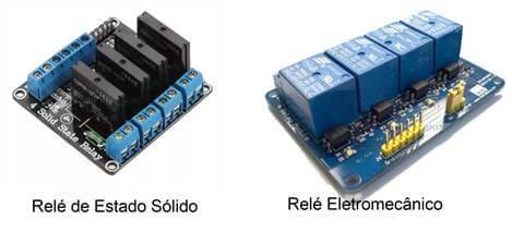 Dois tipos de relés o de estado sólido e o eletromecânico