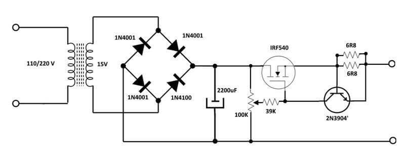 Esquema elétrico de uma fonte ajustável