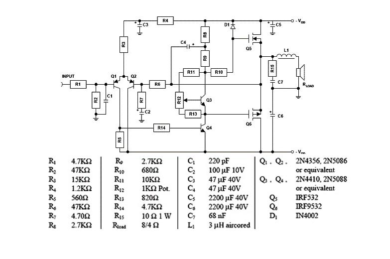 Desenho elétrico de um amplificador de áudio