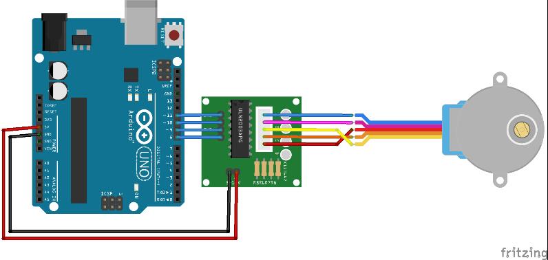 Montagem do circuito do Motor de Passo com um Arduino Uno feito no fritzing