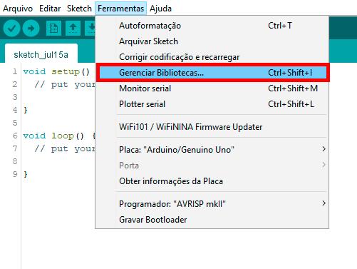 Print mostrando como instalar a biblioteca do motor de passo 28BYJ-48 na IDE do Arduino