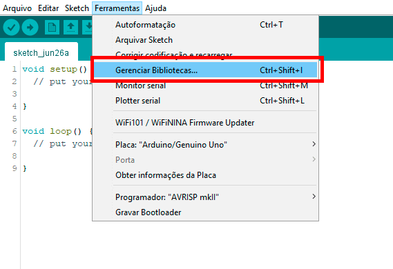 Biblioteca do RFID sendo acessada na IDE do Arduino