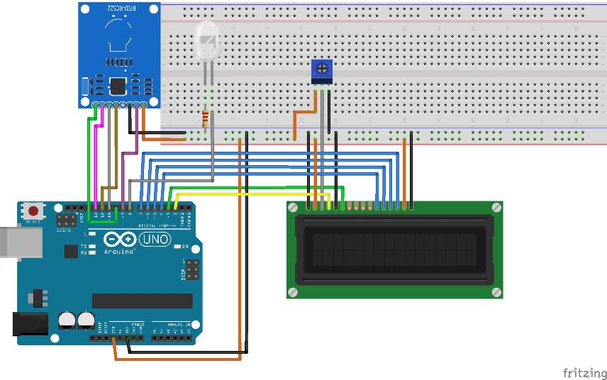 Esquema da montagem elétrica do projeto RFID com o Arduino e o Display LCD