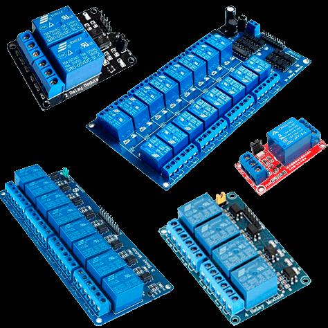 Diversos tipos de relés Arduino sendo representados nesta imagem