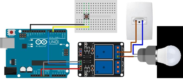Projeto usando arduino e rele para acionamento de uma lâmpada através de um botão switch